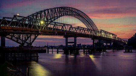beautiful panorama of Mahakam bridge at dawn, Samarinda, Borneo, indonesia