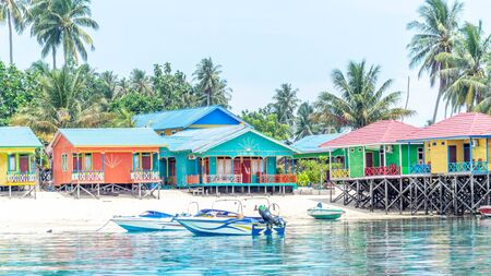 beautiful and colorful cottages at Derawan Island Resort, Borneo Indonesia