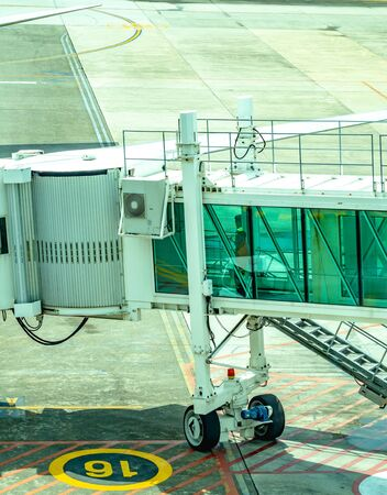 Passenger Boarding Bridge in the airport. aviation industry background