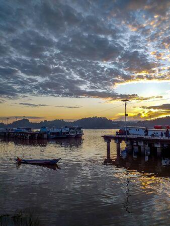 Beautiful morning at Mahakam River. Sunrise at Sungai Kunjang traditional port