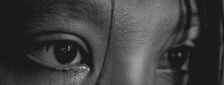 Asian young girl's eye. Black and white