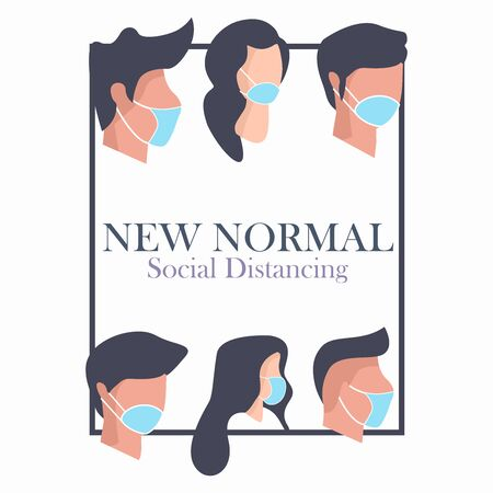 new normal concept, social distancing, people wearing mask, After Outbreak . After the Coronavirus or Covid-19 causing the way of life of humans to change to new normal