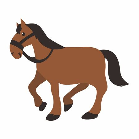 Cartoon of horse, graphic vector of horse on white background. Illustration