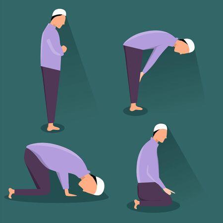 Illustration graphic vector of Muslim Prayer position, vector of salat position, moslem man vector, Islamic man praying Muslim Prayer, vector illustration.
