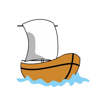 Cartoon image of a wooden sailing boat, illustration graphic vector of a wooden sailing boat. vector illustration.