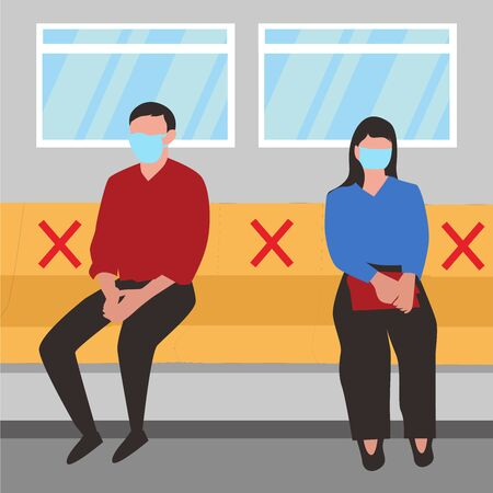 man and woman wearing mask sitting in subway distance for one seat from other people keep distance protect from COVID-19, Social distancing in public transport. vector illustration.