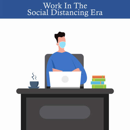 Work in the social distancing era, man sitting in the office wearing a face mask, new normal, vector illustration.