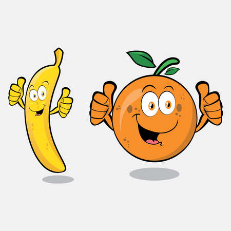Illustration graphic vector of cute orange, Guava, banana and apple, fruit character, set of cartoon tropical fruit characters in kawaii style, isolated on white background.