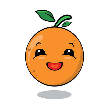 Orange Cute fruit cartoon character isolated on white background vector . Funny positive and friendly Orange emoticon face icon. Cute fruit vector character.