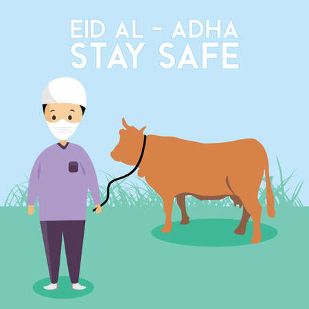 Eid Al- Adha Stay Safe, illustration graphic vector of Muslim with sacrificial animals - Cows 免版税图像 - 151913648