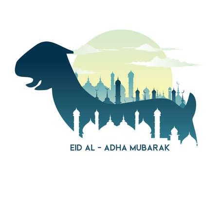 Eid Al Adha with goat illustration, Eid Al - Adha Mubarak. 矢量图像