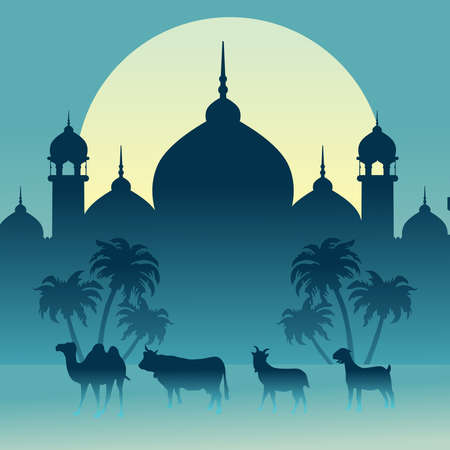 Eid Al adha Background with mosque and sacrificial animals vector 免版税图像 - 151913652