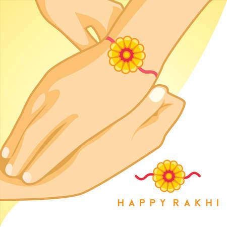 Happy Raksha Bandhan celebration with beautiful hand and rakhi. happy rakhi, vector illustration.