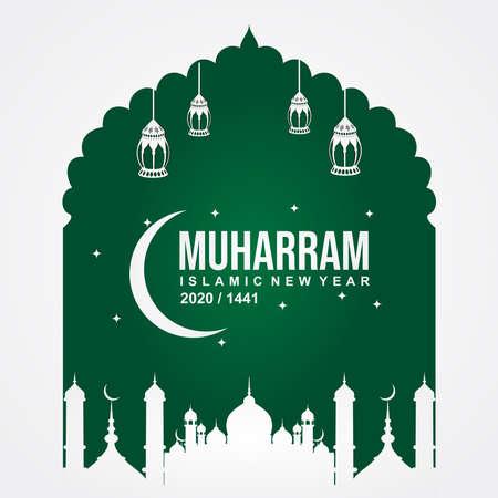 Happy muharram islamic new hijri year 1441, Muslim community festival backdrop banner template design. vector illustration. 免版税图像 - 153618184