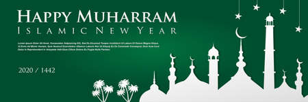 Happy muharram islamic new hijri year 1442 With Mosque and stars on green background, Islamic new year banner, vector illustration.