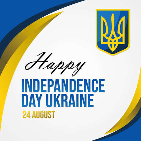 Independence day of Ukraine 24 August  with national symbol of Ukraine, vector illustration.