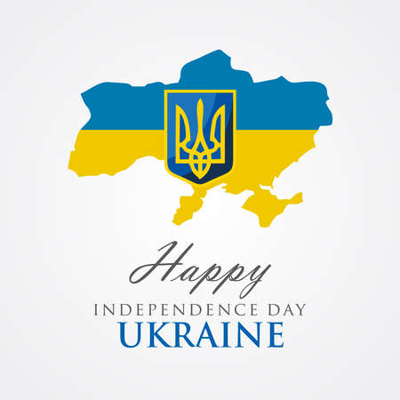 Happy Independence Day Ukraine With national symbol of Ukraine, vector illustration 免版税图像 - 154138814