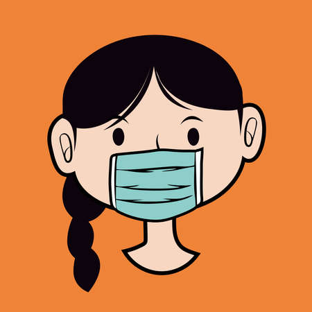 Illustration graphic vector of Woman using Safety breathing masks Corona Virus. Woman using face mask for covid19, new normal concept, Vector illustration.