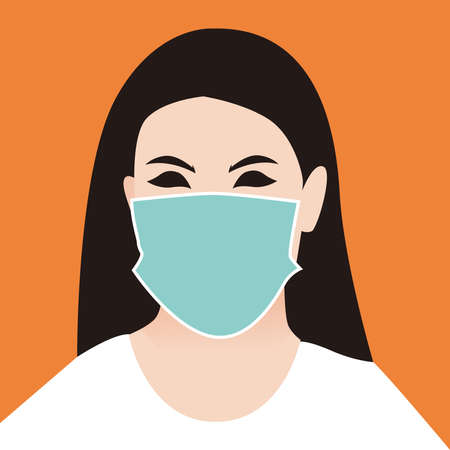 Illustration graphic vector of Woman using Safety breathing masks Corona Virus. Woman using face mask for covid19, new normal concept, Vector illustration. 免版税图像 - 156469019