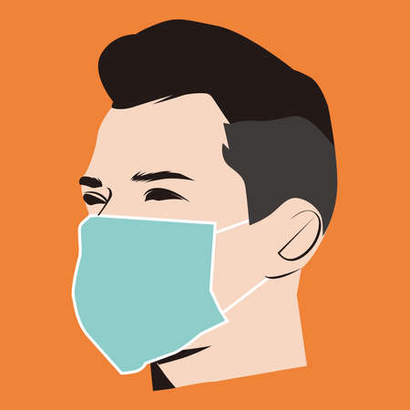 Illustration graphic vector of Man using Safety breathing masks Corona Virus. using face mask for covid19, new normal concept, Vector illustration.
