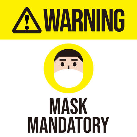 Mask Mandatory area, Warning, no entry without face mask, vector illustration. 免版税图像 - 156469022