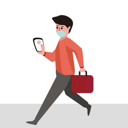 Businessman walking with a surgical mask. Flat vector concept wearing protective mask for prevent virus Covid-19. man covered the medical mask walking outdoors with smartphone in hand.