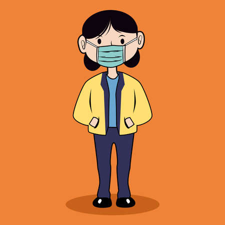 young woman stands using a face mask to stop the spread of the corona virus, new normal concept, vector illustration.