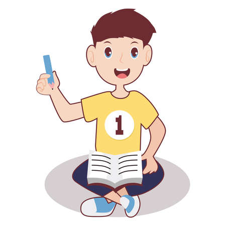 Vector illustration of boy smiling with pencil and book 免版税图像 - 156198816