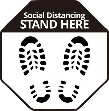 Social Distancing Stand here, Floor sticker Sign,Social distancing. Footprint sign, vector illustration. 矢量图像