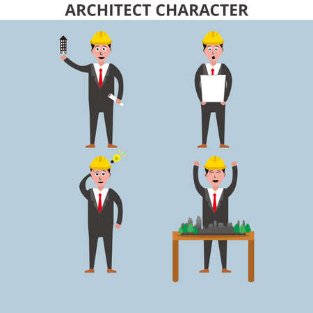 iIlustration graphic vector of Architect Character, Architect Professional Set Of Vector Illustrations