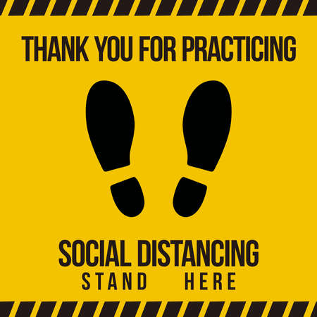 hanks you for practicing Social Distancing stand here, Social Distancing Floor sticker Sign,Social distancing 矢量图像