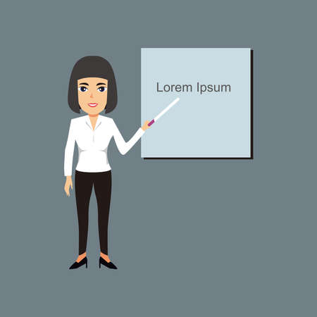 Businesswoman standing with board illustration