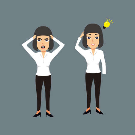 Businesswomen are confused thinking about work and pointing to the light bulb above her head illustration. 免版税图像 - 159091016