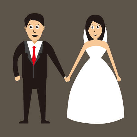 Couple Bride and groom, Wedding card with the newlyweds. bride and groom vector illustration. 免版税图像 - 158927771