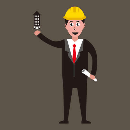 illustration graphic vector of Architect with blueprint and mini building, 免版税图像 - 158927845