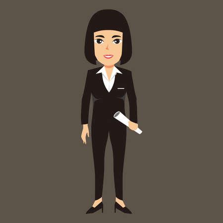 Businesswoman holding document, businesswoman vector ilustration