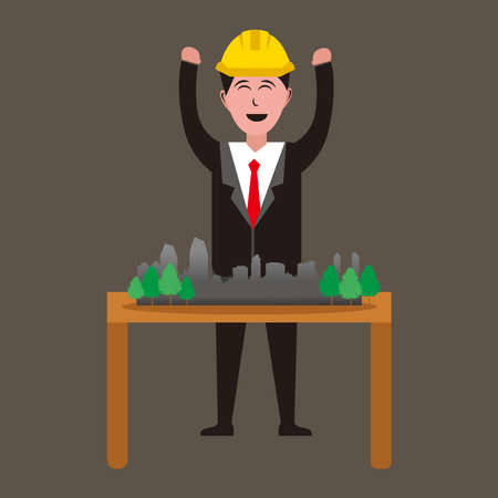 Illustration graphic vector of happy architect designer  with mini building models on table 免版税图像 - 158955891