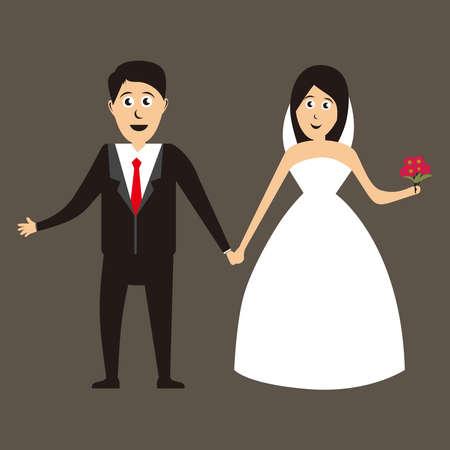 bride and groom vector illustration, Wedding design on brown background. Vector illustration.