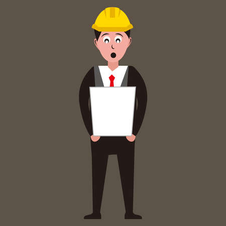 Architect holding drawing of new project with shocked expression vector illustration 免版税图像 - 158927731