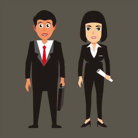 Business team vector illustration, young man and woman in business suit, with briefcase and document, vector illustration. businessmen and woman cartoon. 免版税图像 - 158955893