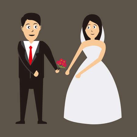 bride and groom vector illustration, Wedding design on brown background. Vector illustration. 免版税图像 - 158927716