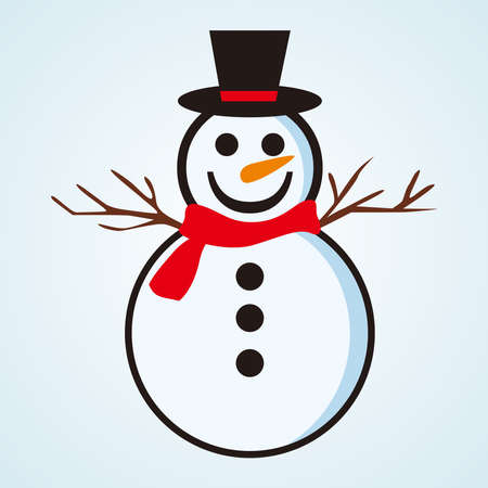 Snowman with hat and scarf vector illustration, Snowman 免版税图像 - 158964297
