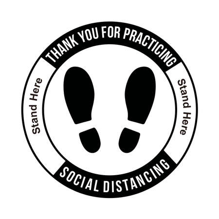 Thank you for practicing SOCIAL DISTANCING, Social Distancing Stand here, Floor sticker Sign,Social distancing. Footprint sign, vector illustration. 免版税图像 - 159178222