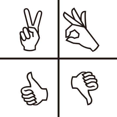 HAND GESTURE LINE ICON, Hand icons set. Stroke outline style. Vector. Isolate on white background 矢量图像