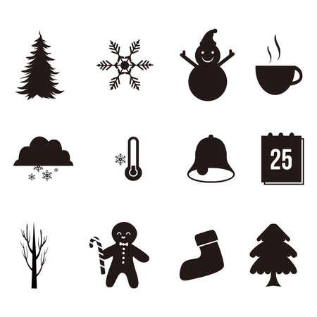 Winter icons set vector illustration 免版税图像 - 158963349