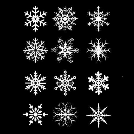 snowflake winter set of white isolated on black background, set of vector snowflakes