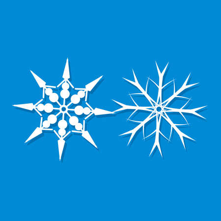 Snowflake icon. Christmas and winter theme. Simple flat white illustration on blue background.