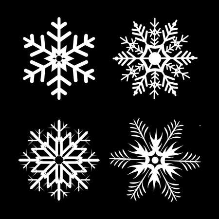 Snowflakes design for winter. Winter snowflakes. Cute snowflakes collection isolated on black background. Flat snow icons, silhouette. Nice element for Christmas banner, cards. etc. 免版税图像 - 159446096