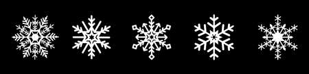 Vector snowflakes set for Christmas design. Snowflakes icon collection isolated on black background. Vector Christmas and New Year decoration elements.