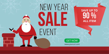 new year sale event banner ready for use, New Year sale event design. Christmas banner, Horizontal christmas poster, greeting cards, headers, website, etc 矢量图像